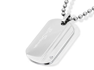 Stone-Set Dog Tag Necklace 019508