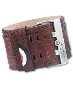 Textured Brown Leather Cuff Bracelet