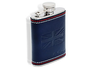 Union Jack Blue Leather Captive Top Hip Flask 013004