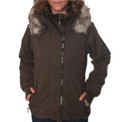 Ladies Big Boy Short Parka Coat - Coffee