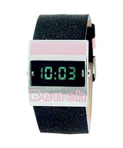 LCD Leather Strap Watch