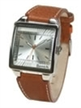 Watch with Tan Leather Strap and Silver Dial