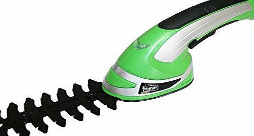 3.6V CORDLESS 2-IN-1 GRASS CUTTER amp; HEDGE TRIMMER HAND HELD SHAPE AND EDGING GARDEN POWER TOOLS - GREEN