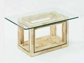 Athena Rectangular Glass Coffee Table in Crystal