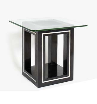 Athena Square Glass Lamp Table in Black Stone -