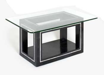Athens Rectangular Glass Coffee Table in Black