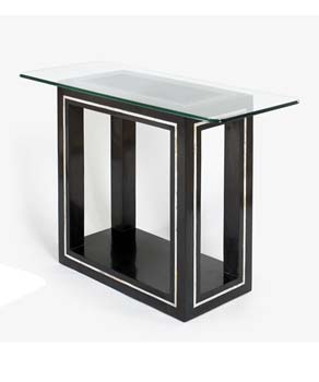 Athens Rectangular Glass Console Table in Black