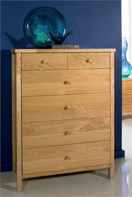Atlantis Natural 4 + 2 Drawer Chest Small Single