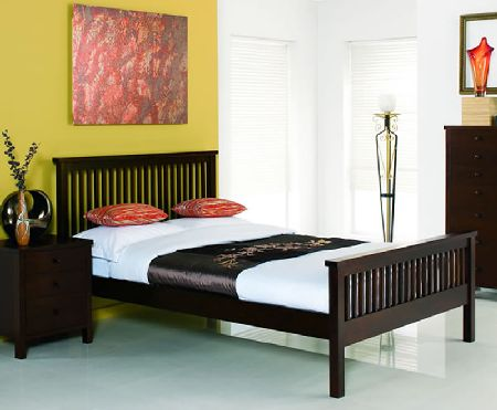 Bentley Atlanta Dark Wooden Bedstead, Double, No