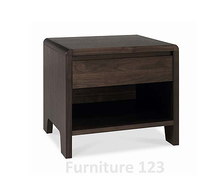 Clearance - Domino Walnut 1 Drawer Bedside Table