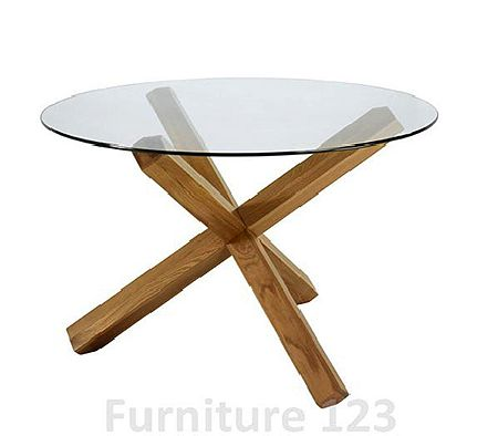 Clearance - Felix Oak Round Glass Dining Table