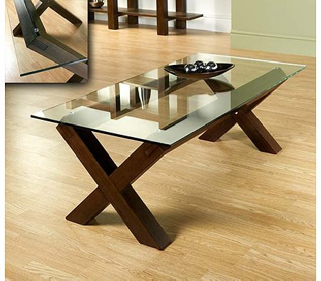 Clearance - Lyon Walnut Glass Coffee Table