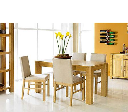 Cuba Oak Rectangular Dining Set with Upholstered