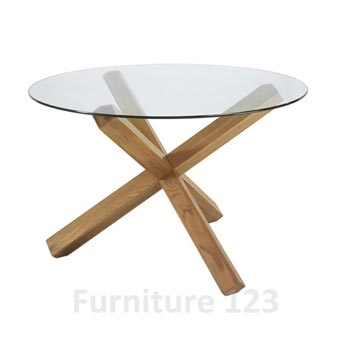 Felix Solid Oak Round Glass Dining Table