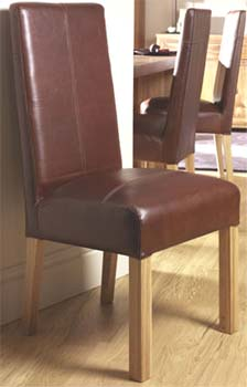 Izmir Brown Leather Dining Chairs (pair)