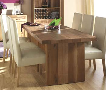 Izmir Dining Set with Ivory Leather Chairs