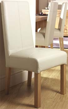 Izmir Ivory Leather Dining Chairs (pair)