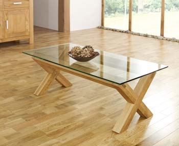 Lyon Oak Glass Coffee Table