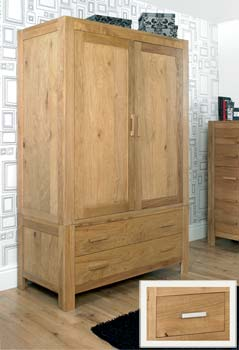 Lyon Oak Large Double Wardrobe