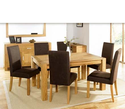 Lyon Oak Rectangular Extending Dining Set with