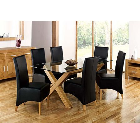 Lyon Oak Rectangular Glass Dining Set in Black
