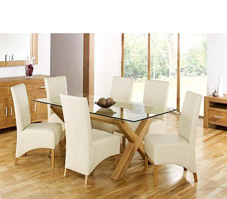 Lyon Oak Rectangular Glass Dining Set in Ivory