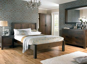 Lyon Walnut Bedroom Set with Chest of Drawers