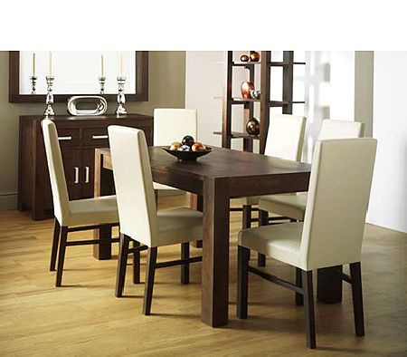 Lyon Walnut Rectangular Dining Set with Leather