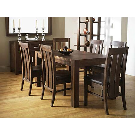 Lyon Walnut Rectangular Dining Set with Slatted