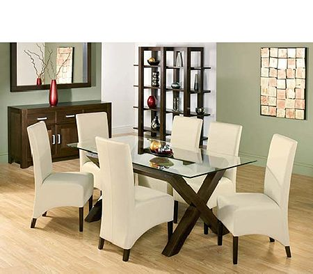 Lyon Walnut Rectangular Glass Dining Set in Ivory