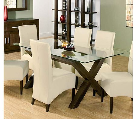 Lyon Walnut Rectangular Glass Dining Table