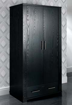 Metric 2 Door Wardrobe in Black - WHILE STOCKS