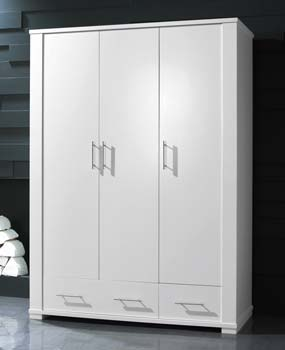 Metro 3 Door Wardrobe in White - WHILE STOCKS