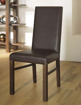 Nyon Walnut Standard Leather Dining Chairs in
