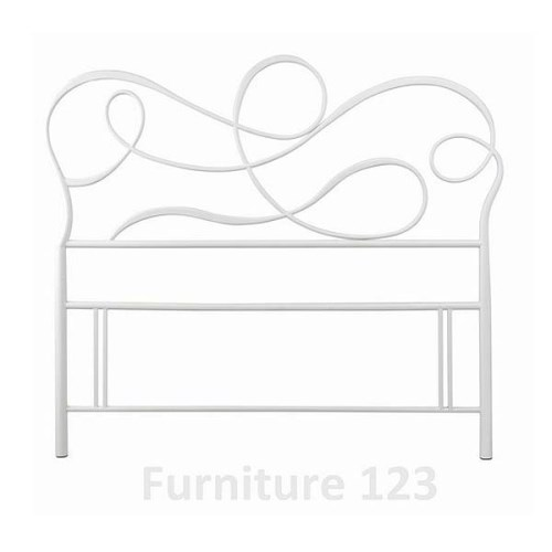 Scroll White Metal Headboard -