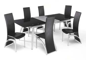 Tavoli Dining Set with Black Glass