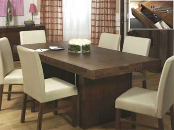 Tokyo Dining Set with Ivory Leather Chairs