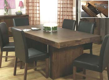 Tokyo Walnut Dining Set with Brown Leather Chairs