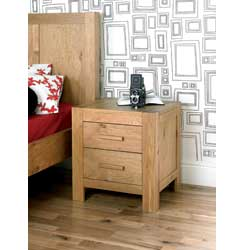 Lyon Oak 2 Drawer Bedside Table