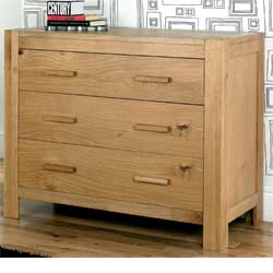 Lyon Oak 3 Drawer Wide Chest