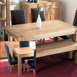 Lyon Oak Small Dining Table & 4 Large Leather