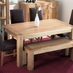 Lyon Oak Small Dining Table & 4 Standard Leather