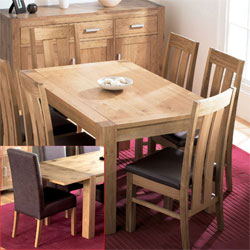 Lyon Oak Small Dining Table & 6 Grand Leather