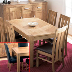 Lyon Oak Small Dining Table & 6 Large Leather