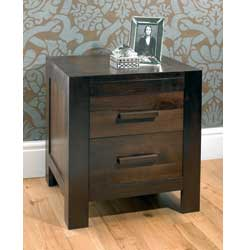 Lyon Walnut 2 Drawer Bedside Table