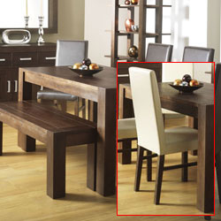 Lyon Walnut Small Dining Table & 4 Large Leather