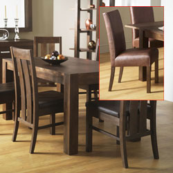 Lyon Walnut Small Dining Table & 6 Grand Leather