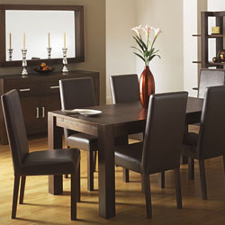 Lyon Walnut Small Dining Table & 6 Large Leather