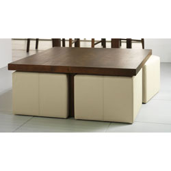 Panama Square Coffee Table & 4 Foot Stools