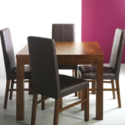 Panama Square Dining Table & Leather Chairs